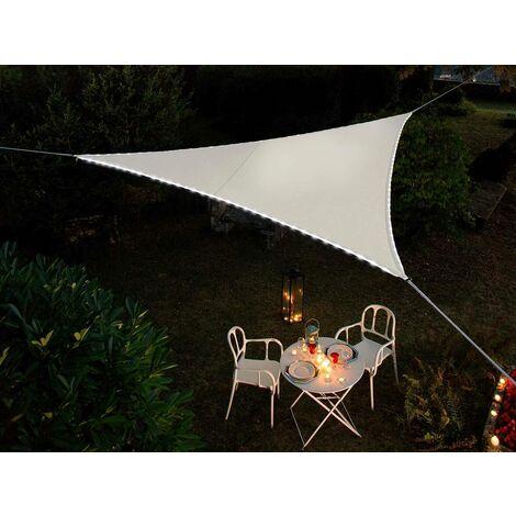 Voile d'ombrage triangulaire Leds solaires Blanc + Adaptateur