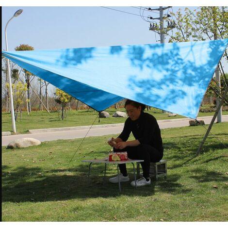Voile d'Ombrage Triangulaire Toile Imperméable Protection Solaire en Tissu Anti Rayons UV et Respirant pour Jardin Camping,blue