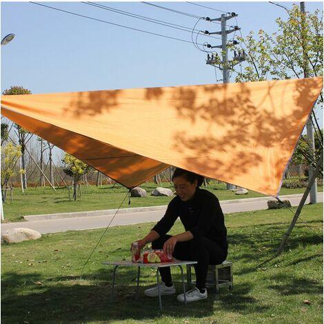 Voile d'Ombrage Triangulaire Toile Imperméable Protection Solaire en Tissu Anti Rayons UV et Respirant pour Jardin Camping,Orange