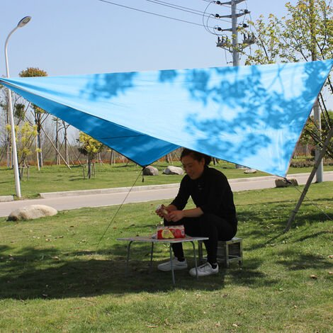Voile d'Ombrage Triangulaire Toile Imperméable Triangle Protection Solaire en Tissu PU Anti Rayons UV et Respirant pour Jardin Camping,bleu
