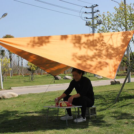 Voile d'Ombrage Triangulaire Toile Imperméable Triangle Protection Solaire en Tissu PU Anti Rayons UV et Respirant pour Jardin Camping,Orange