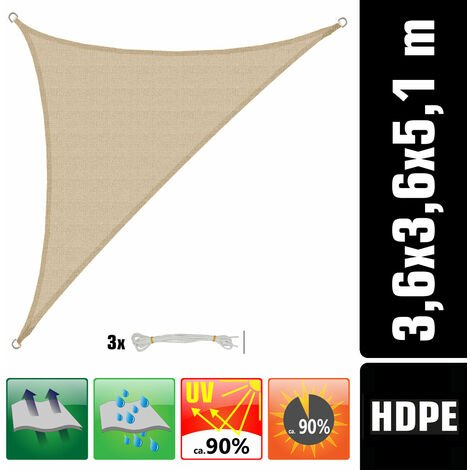 Voile d'ombrage UV 3,6x3,6x5,1 HDPE Triangle Protection Solaire Toile ivoire