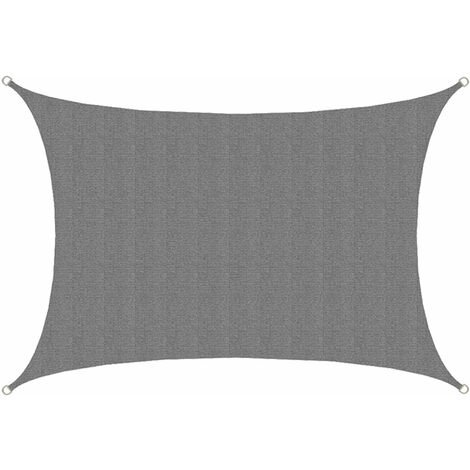 """main image of """"Voile d'ombrage UV 3x4 m HDPE Rectangulaire Protection Solaire Toile Jardin Gris"""""""