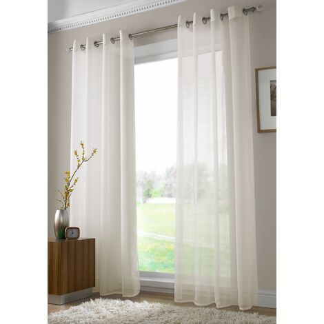 """Voile Ring Top Eyelet Curtain Panel Ivory 54"""" Drop"""