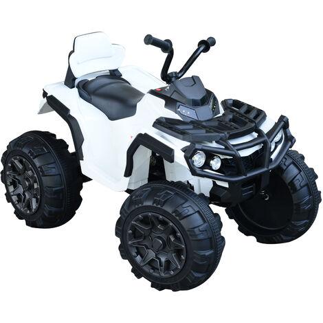 Voiture 4x4 quad buggy électrique enfant 3 à 8 ans effets lumineux musique lecteur MP3 multifonction blanc