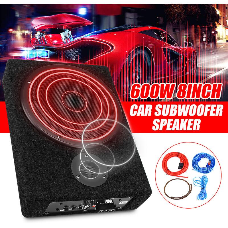 Voiture 8Inch 600W sous siège amplificateur slim AMP subwoofer BAS HIFI SLIM Haut-parleur