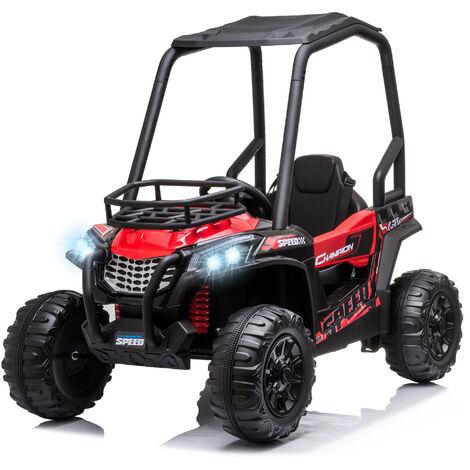 Voiture électrique enfant 3 à 8 ans - buggy quad électrique 120 W - V. max. 6 Km/h - télécommande - effets lumineux sonores - rouge