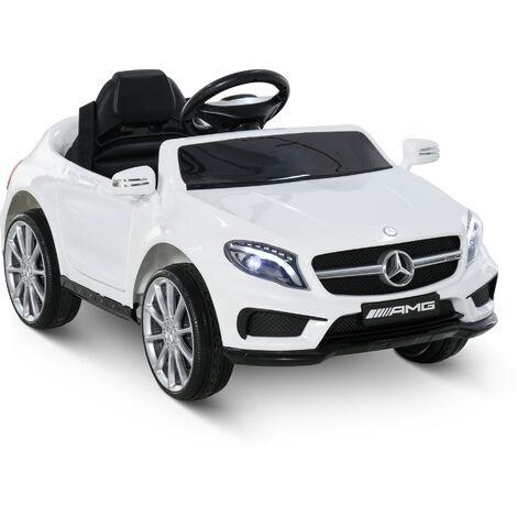 Voiture véhicule électrique enfant 6 V 3 Km/h max. télécommande effets sonores + lumineux Mercedes GLA AMG blanc