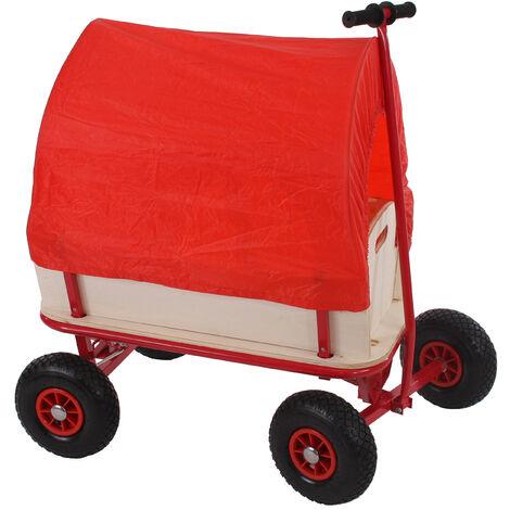 Voiturette charrette à bras chariot, bois, 92x61cm, avec frein et siège