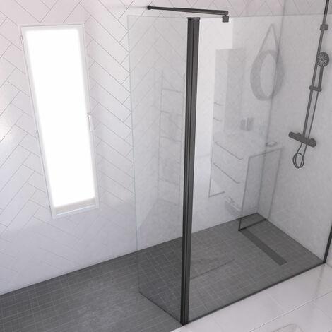 """main image of """"Volet pivotant 40cm pour douche a l'italienne - Verre transparent 8mm - Profile noir mat"""""""