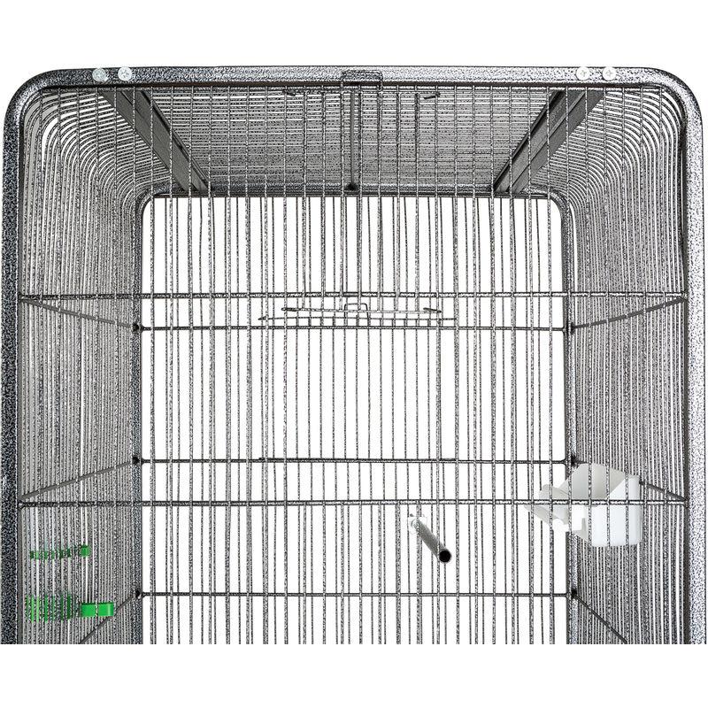 avec support m/étal HxlxP: 146 x 54 x 54 cm perroquet noir roulettes Voli/ère Cage /à oiseaux avec toit