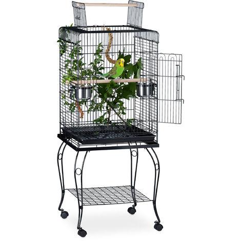 Volière avec perchoirs, Cage à oiseaux roulettes, Perroquets Perruches, HLP 127,5 x 55 x 55 cm, noir