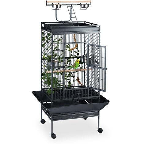 Volière avec perchoirs, Cage à oiseaux roulettes, Perroquets Perruches, HLP 165 x 80 x 80 cm, noir