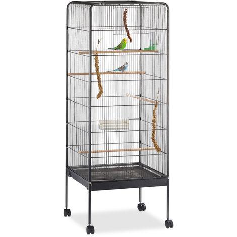 Volière Cage à oiseaux avec toit, perroquet, avec support, roulettes, métal HxlxP: 146 x 54 x 54 cm, noir