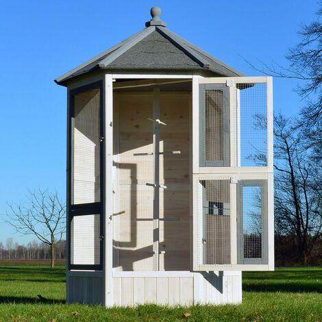 Voliere Cage a oiseaux en bois de haute qualite 100 x 180 x 100 cm Modele Luise 309