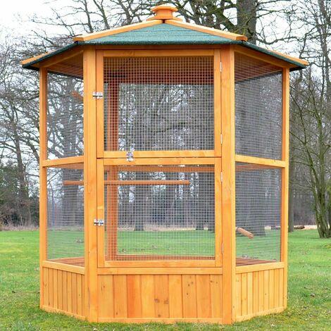 Voliere Cage a oiseaux en bois de haute qualite 6 coins 160x123cm Modele Maxi 308
