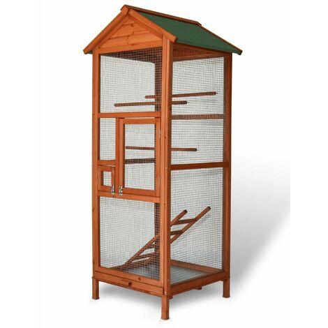 Volière Cage a oiseaux en bois de haute qualite 72 x 63 x 168 cm exterieur et interieur BB LOISIR