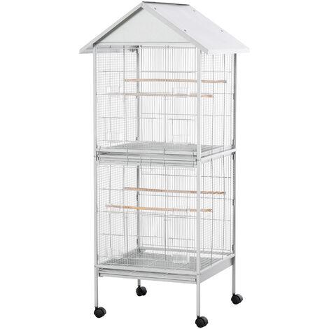 Volière cage à oiseaux sur roulettes design maison mangeoires perchoirs 10 portes plateaux excréments amovibles métal blanc