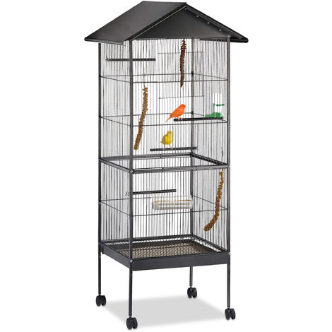 Volière Cage à oiseaux toit, perroquet, perruche, avec support, roulettes, métal HxlxP: 155 x 64 x 66 cm, noir