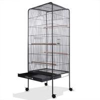 Volière cage à oiseaux XL Hauteur 146cm 2 portes Canaries perroquet perruches