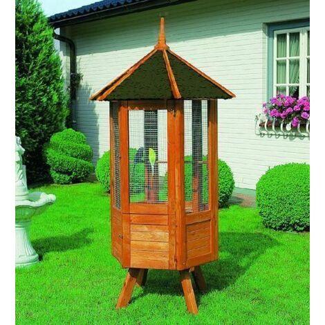 Volière cage en bois pour les oiseaux XXL 98 x 98 x 195 cm ca