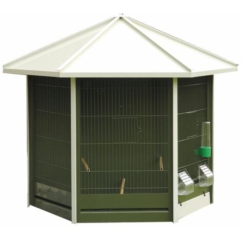 Volière nr 42 vert avec toit blanc 87x46x77cm