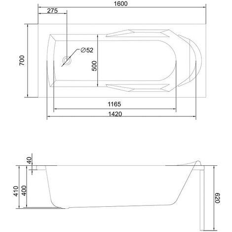 Volkswhirlpool Optimus 160x70x57,5 cm
