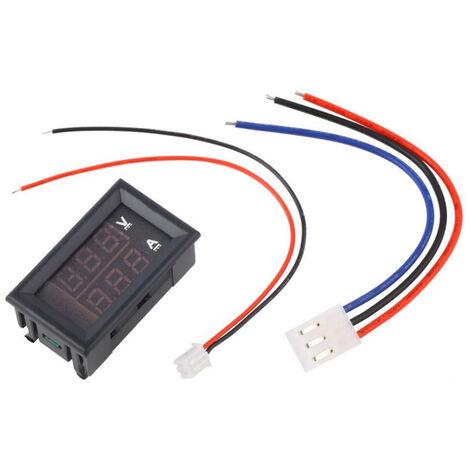 Voltmetre, Amperemetre, Double Affichage A Led Bleu Et Rouge, Dc1-100V 10A