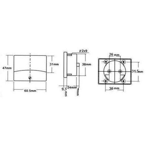 VOLTMETRE ANALOGIQUE DE TABLEAU 300V CA / 60 x 47mm - AVM60300