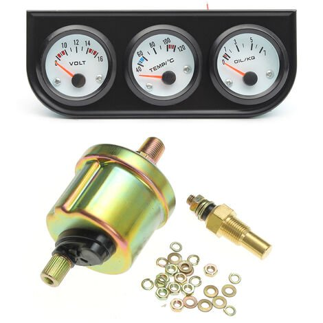 Voltmetre / Thermometre A Eau 2 \'\'/52 Mm 3 En 1 Monte Sur Vehicule / Jauge De Pression D\'Huile 0-7 Kg + Support Noir A 3 Trous, Noir