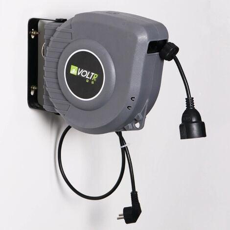 VOLTR - Rallonge électrique murale câble de 15m , enrouleur de jardin automatique,sécurité thermique