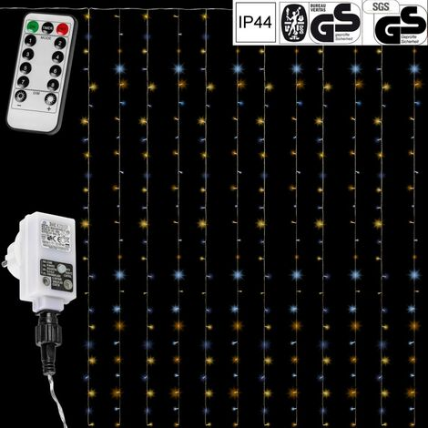 VOLTRONIC® Rideau guirlande lumineuse, plusieurs dimensions 3x3m 300 LED / 3x6m 600 LED / 6x3m 600 LEDet couleurs disponibles, câble transparent