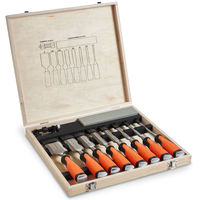 VonHaus 10pc Professional Wood Carving Chisel Set with Honing Guide, Sharpening Stone & Storage Case