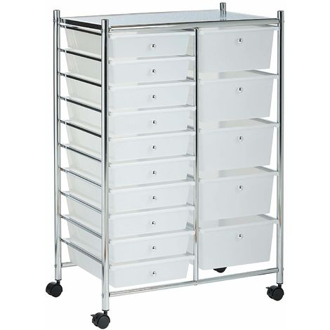 VonHaus 15 Drawer Storage Trolley | For Home Office Stationery and Organisation or Salon, Make-up, Hairdressing & Beauty Accessories | Mobile Design with 15 Tier Shelving and Castor Wheels | White