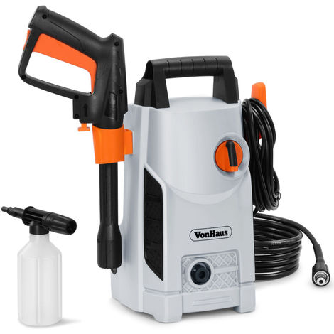 VonHaus 1600W Pressure Washer with Accessories - Outdoor Home/Patio & Car Cleaner - 90bar working Pressure /135bar Max Pressure, 330litres/hour Flow