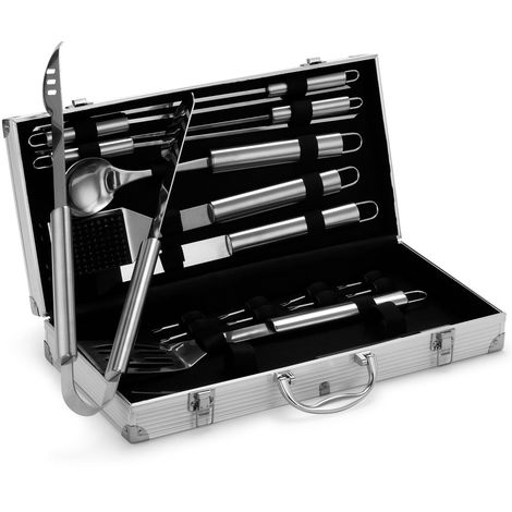 VonHaus 18-piece BBQ Tools Set - Stainless Steel Barbecue Grill Utensil Accessories Kit in Aluminium Carry Case - Includes Skewers
