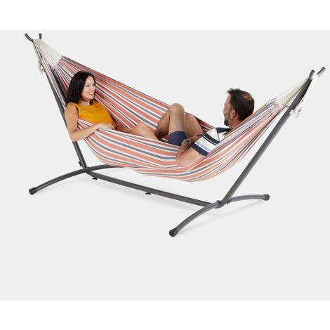 f22312b62c0 VonHaus 2 Person Hammock With Frame – 100% Cotton Fabric In Orange Stripe  Stripe – Luxury Standing Double Swinging Hammock with Sturdy Steel Frame  for ...