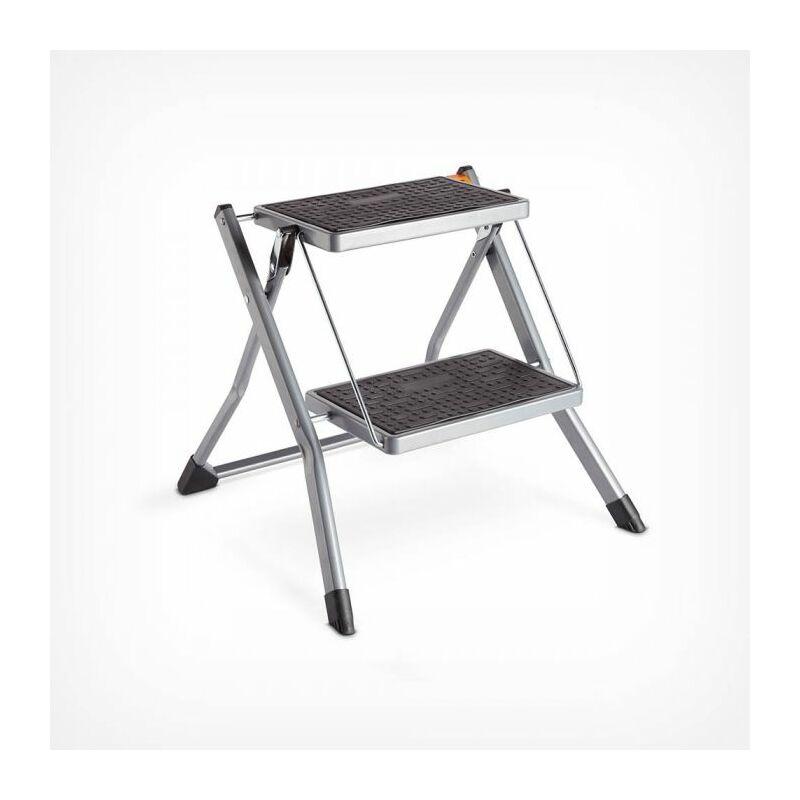 VonHaus 2-Step Stool – Anti Slip Feet – Easy To Store Foldable Design –  Ideal For Home/Kitchen/Garage