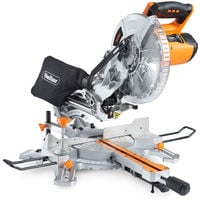 "VonHaus 2000W 255mm (10"") Sliding Compound Single Bevel Mitre Saw- Powerful Performance with +45° / -45° Versatility - Easily Cuts through Woods & Plastics - Laser Guide, Extension Bars & Dust Bag."