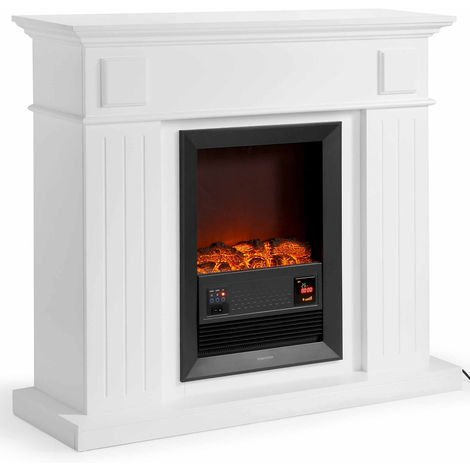 VonHaus 2000W Fireplace Suite/ Electric Stove/ Freestanding With Wall Surround & realistic LED Flame Effect - 2 Heat Settings - White