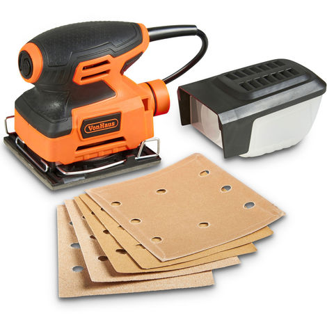 VonHaus 240W ¼ Sheet Sander - 15,000 OPM - Includes 5 X Sanding Sheets - Dust Collection - Fast Clamping System