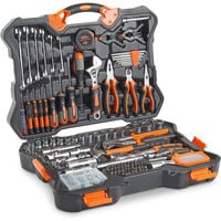 VonHaus 256pc Premium Hand Tool + Socket Set - Combo Tool Kit with Satin-finished Tools & Heavy Duty Storage Case - Ideal for DIY, Workshop & Garage