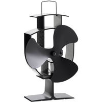 VonHaus 3 Blade Heat Powered Stove Fan for Wood/ Log Burner - Black Steel