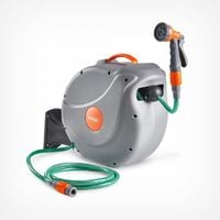 VonHaus 30M Garden Hose - Auto Rewind Wall-Mounted Reel ? Includes 8-Function Spray Gun Attachment