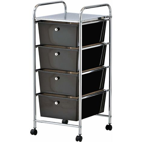 VonHaus 4 Drawer Storage Trolley | For Home Office Stationery and Organisation or Salon, Make-up, Hairdressing & Beauty Accessories | Mobile Design with 4 Tier Shelving and Castor Wheels | Black