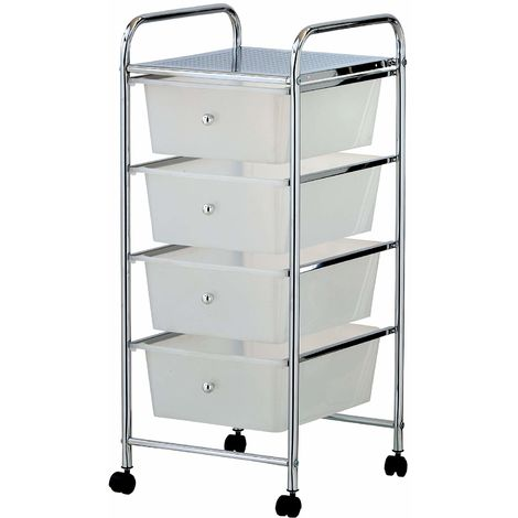 VonHaus 4 Drawer Storage Trolley | For Home Office Stationery and Organisation or Salon, Make-up, Hairdressing & Beauty Accessories | Mobile Design with 4 Tier Shelving and Castor Wheels | White
