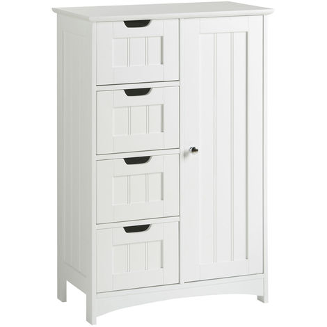 Vonhaus 4 drawer storage unit white colonial style for - White colonial bedroom furniture ...