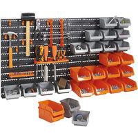 VonHaus 44 Pcs Wall Mount Storage Organiser Bin Panel Rack with Tool Holder and Hook Set
