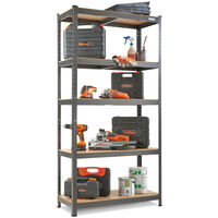 VonHaus 5 Tier Garage Shelving - Metal Racking, Steel & MDF Boltless Shelves - Massive 875kg Capacity 175KG per Shelf | 180cm H 90cm W 40cm D