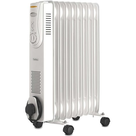 VonHaus 9 Fin 2000W Oil Filled Radiator with 3 Heat Settings & Adjustable Thermostat - White